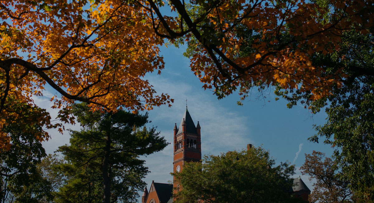 Glatfelter Hall surrounded by trees in the fall