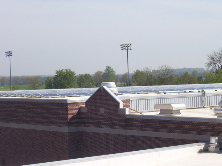 Wide shot of solar panels on the roof of the Jaeger Center