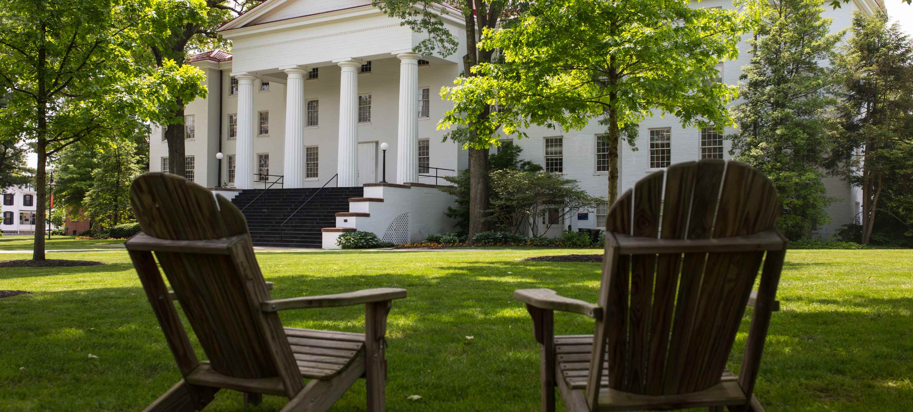 Gettysburg College campus with empty chairs