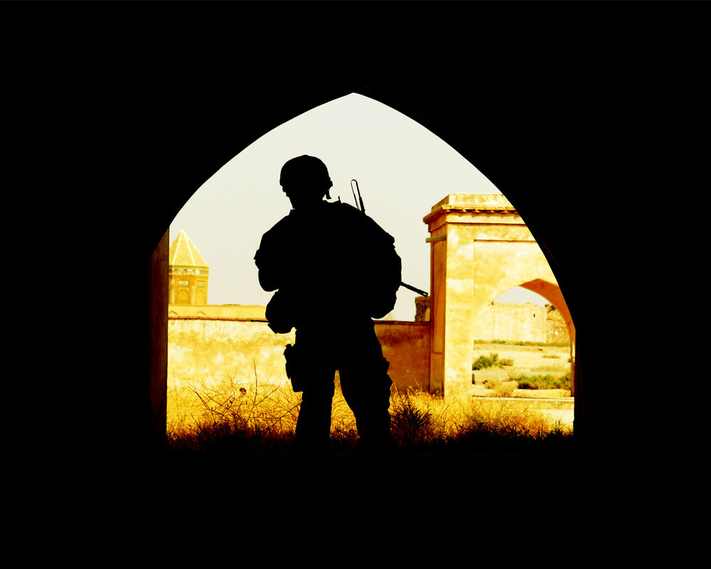 The silhouette of a soilder