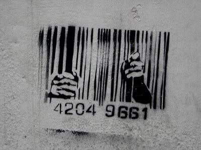 A bar code with human hands