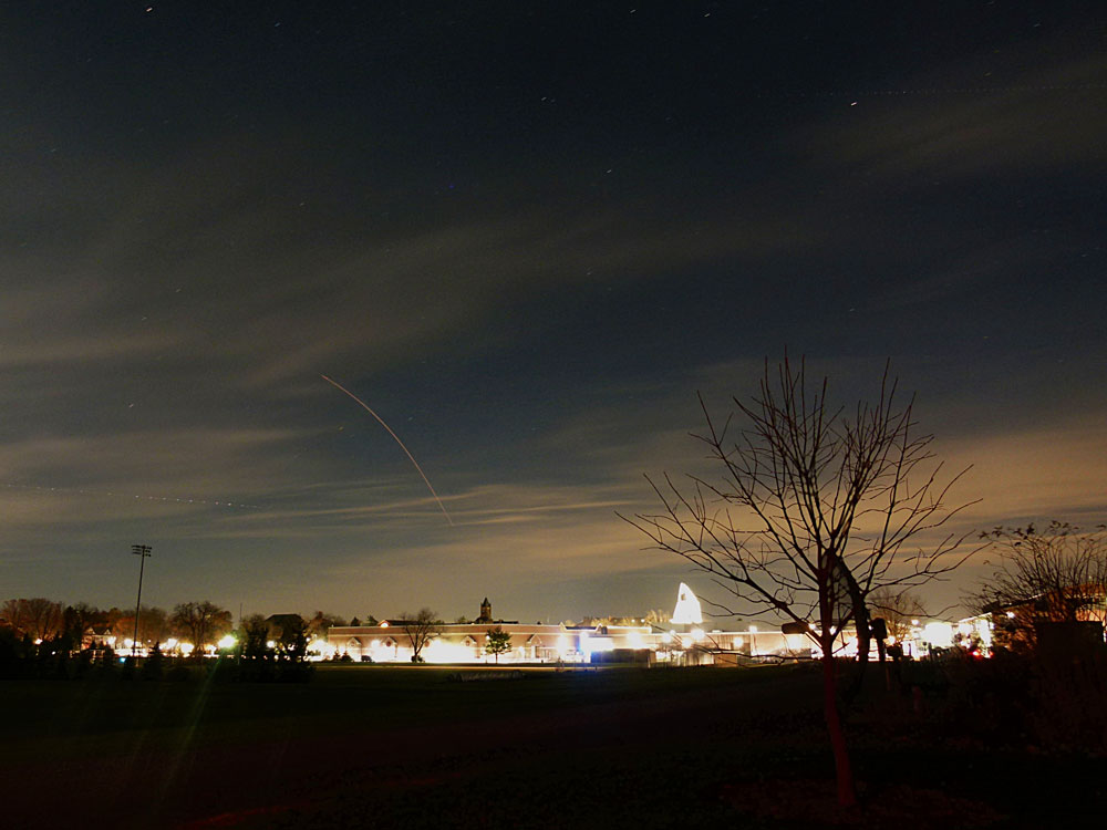 Rocket launch from Wallops Island, VA, as seen from campus.