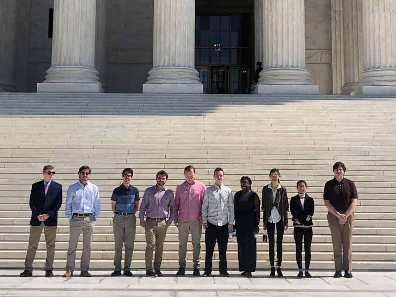 Public Policy students posing outside the Supreme Court