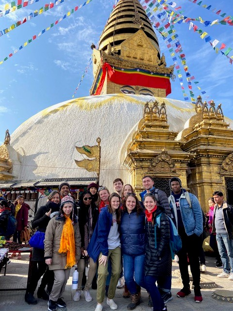 Students on immersion trip to Nepal