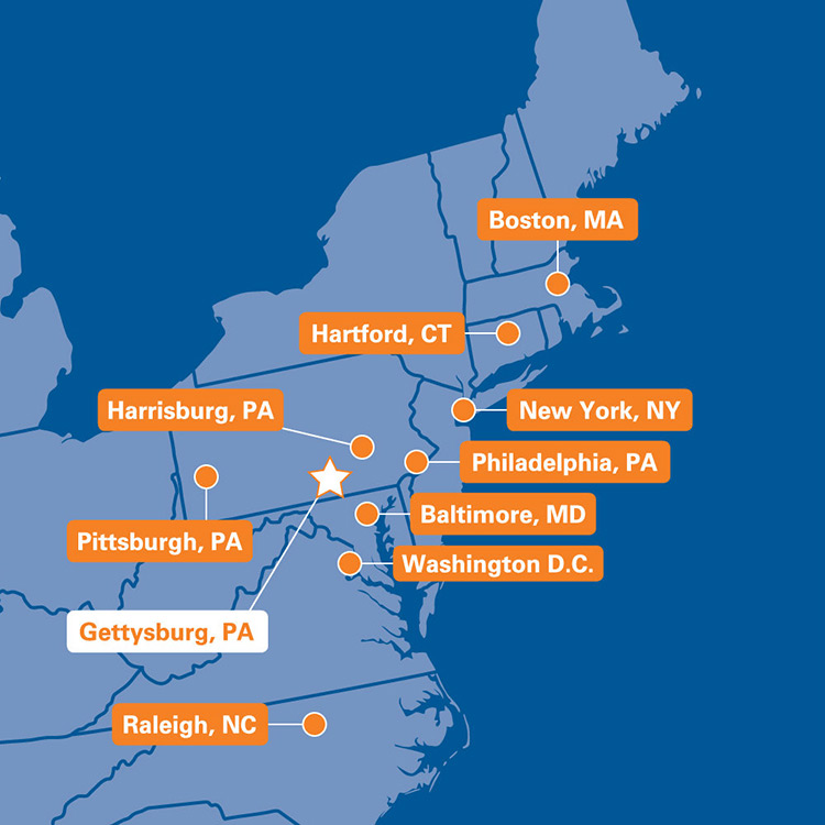 Map of the United States with Gettysburg College and nearbye cities on it