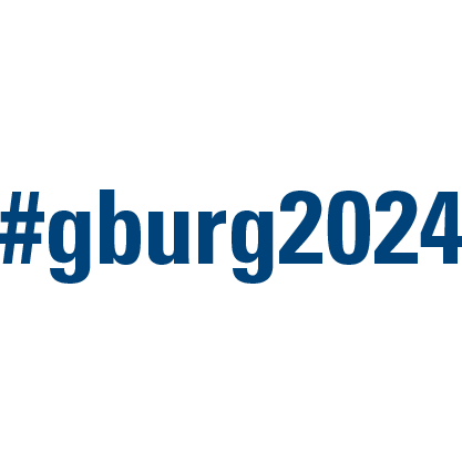 #gburg2024 social media icon with blue text