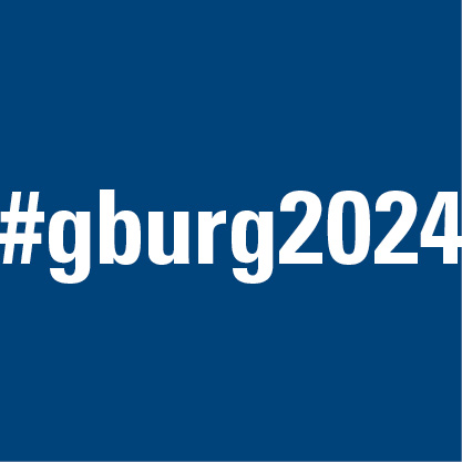 #gburg2024 social media icon with blue background