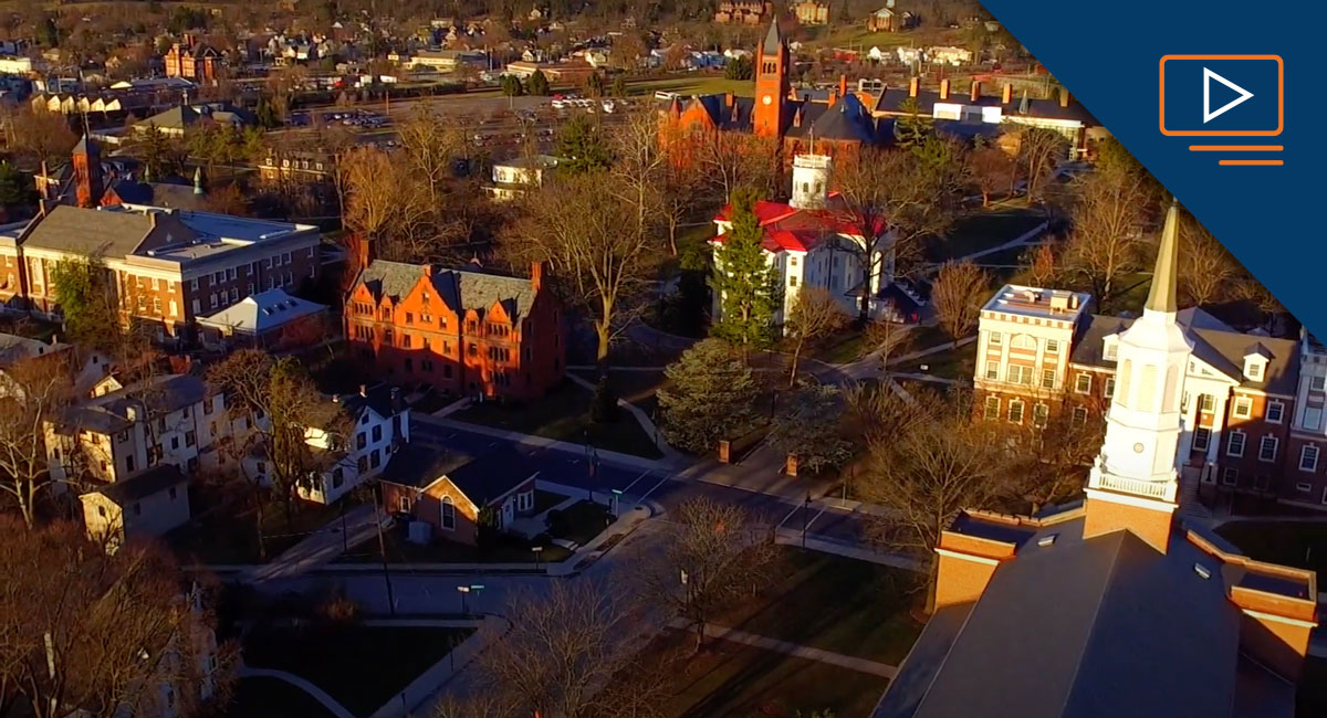 Aerial photograph of Gettysburg College's campus