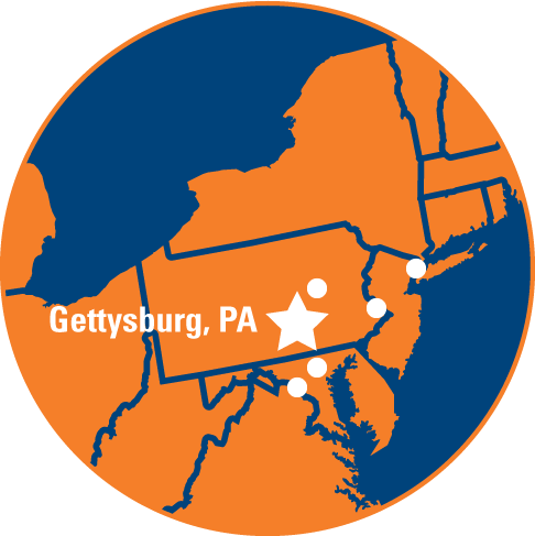 Map of Gettysburg in relation to major East Coast cities; see table below for travel times