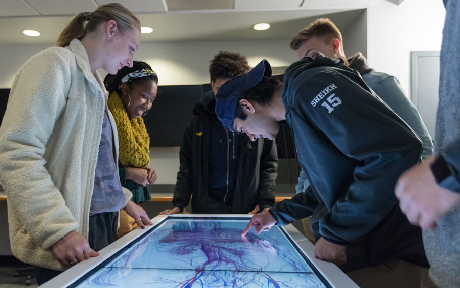 Students looking down at an anatomage table displaying a dissected human body