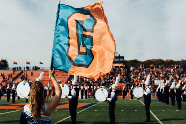 Gettysburg College flag and Bullets Marching Band