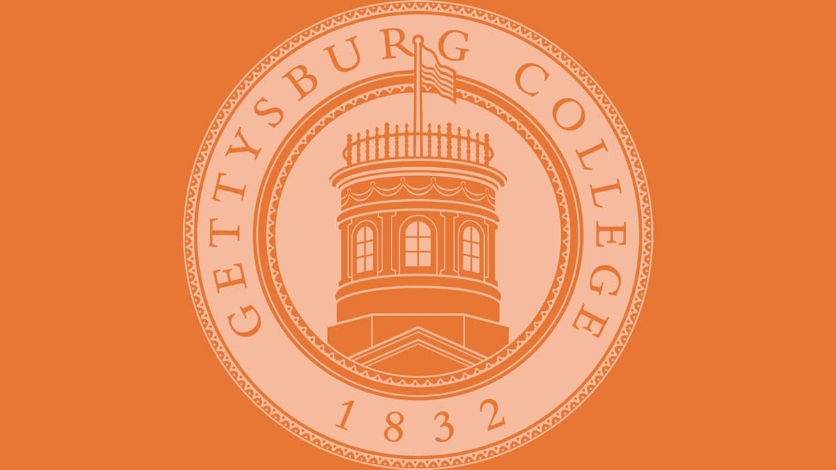 white College seal against orange background