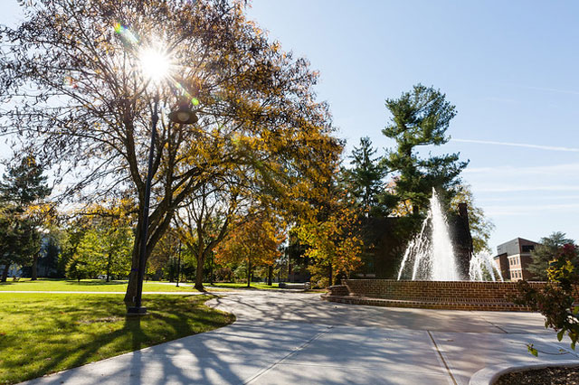 Gettysburg College fountain in sunlight