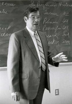 Charles H. Glatfelter stands teaching