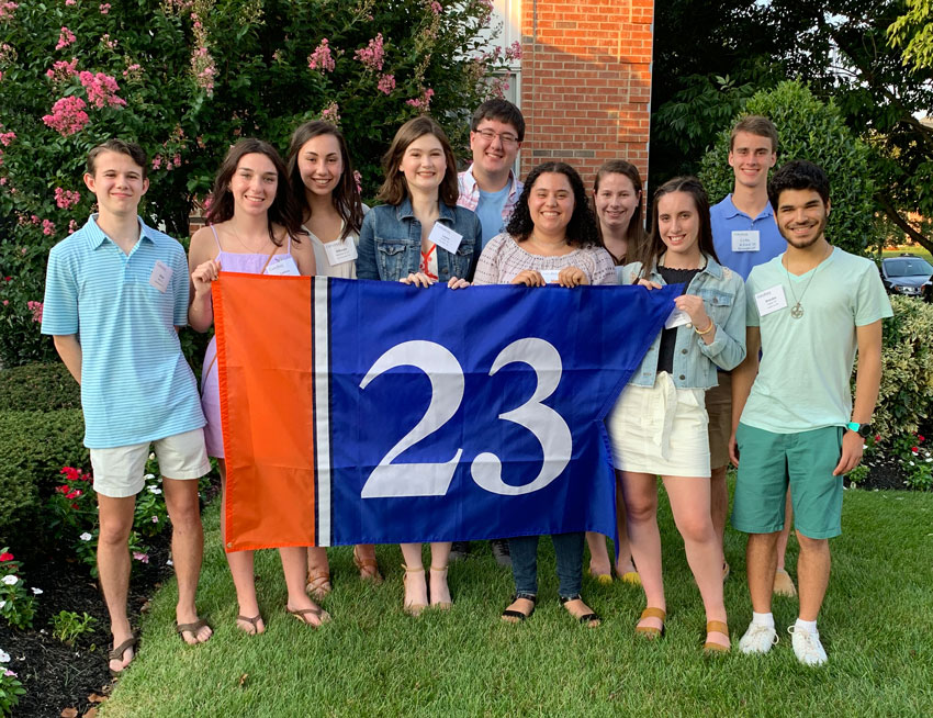 Students from the class of 2023 at a send off event