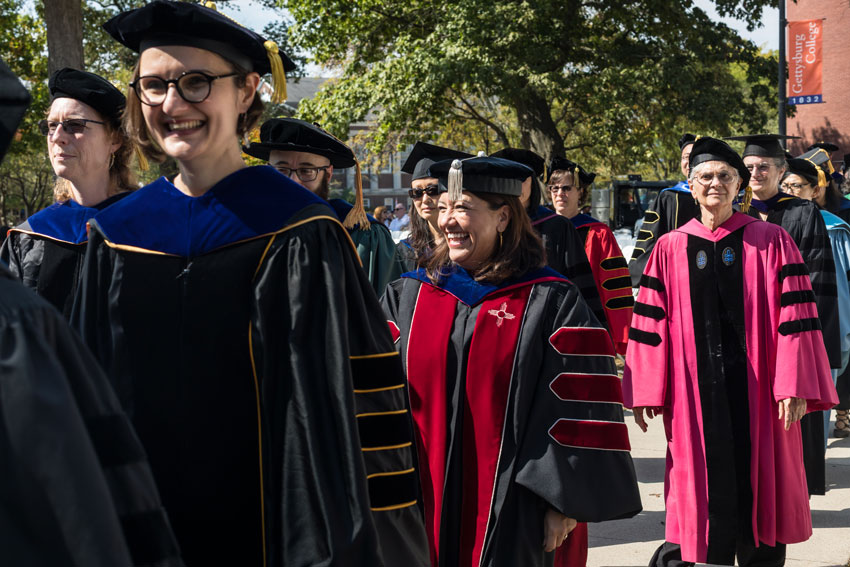 Robed professors in the processional line
