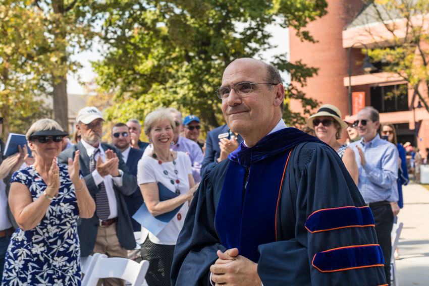 Gettysburg College President Bob Iuliano in the processional line