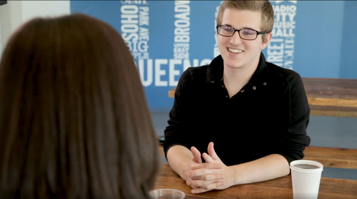 Student interviewing for Business-related job position