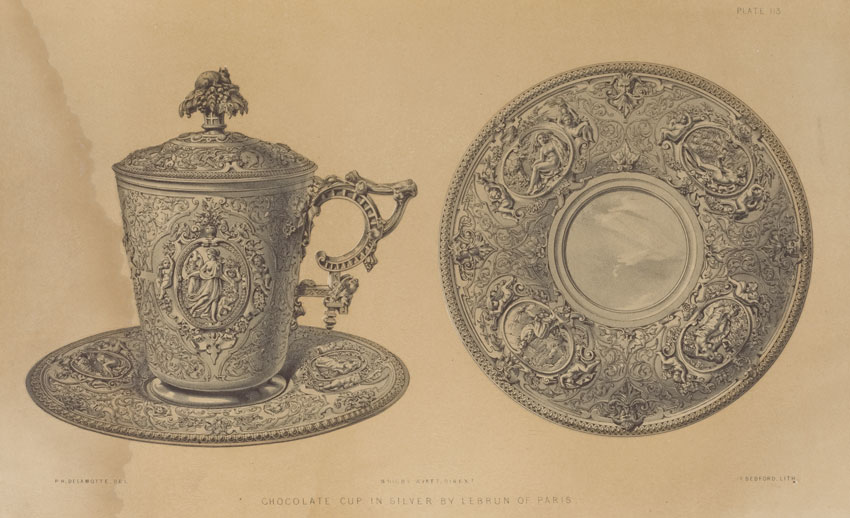 Drawing of a historical silver chocolate cup
