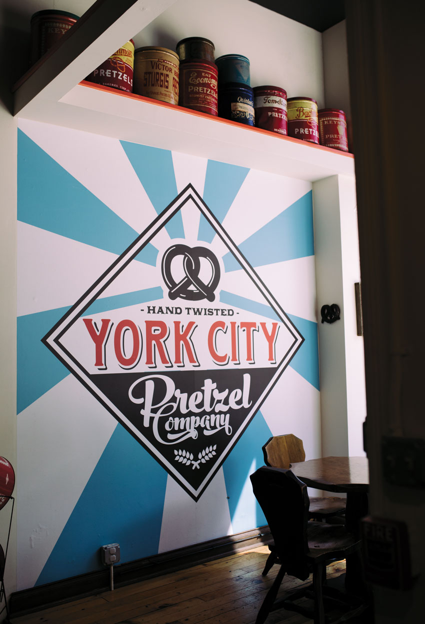 Photo of York City Pretzel Company logo on a wall