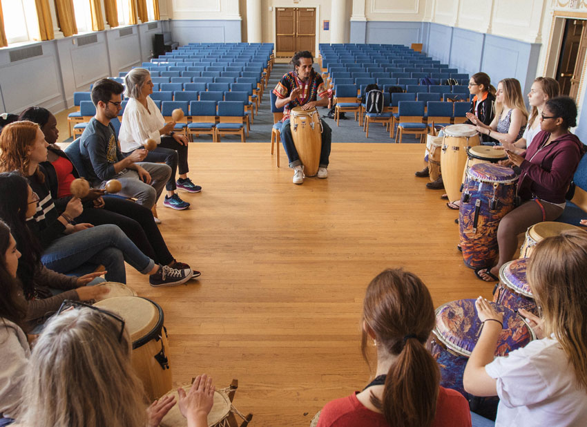 Students in class with hand drums