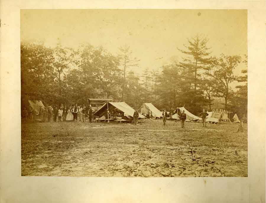 Image of a Civil War encampment from Special Collections and Archives