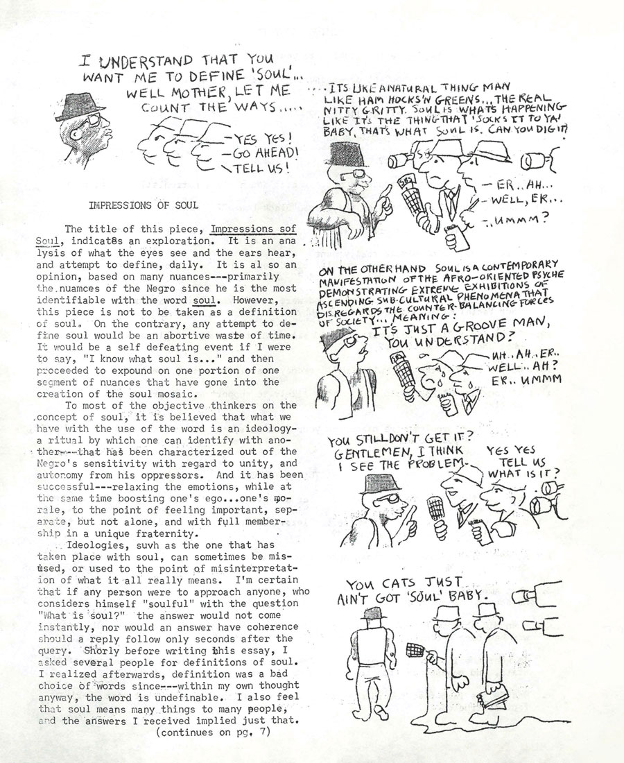 Poster with comic from Black Awareness publication circulated on Gettysburg College's campus
