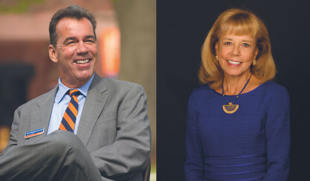 Headshot of David Brennan '75, P'00 on the left and Daria Lo Presti Wallach '76 on the right