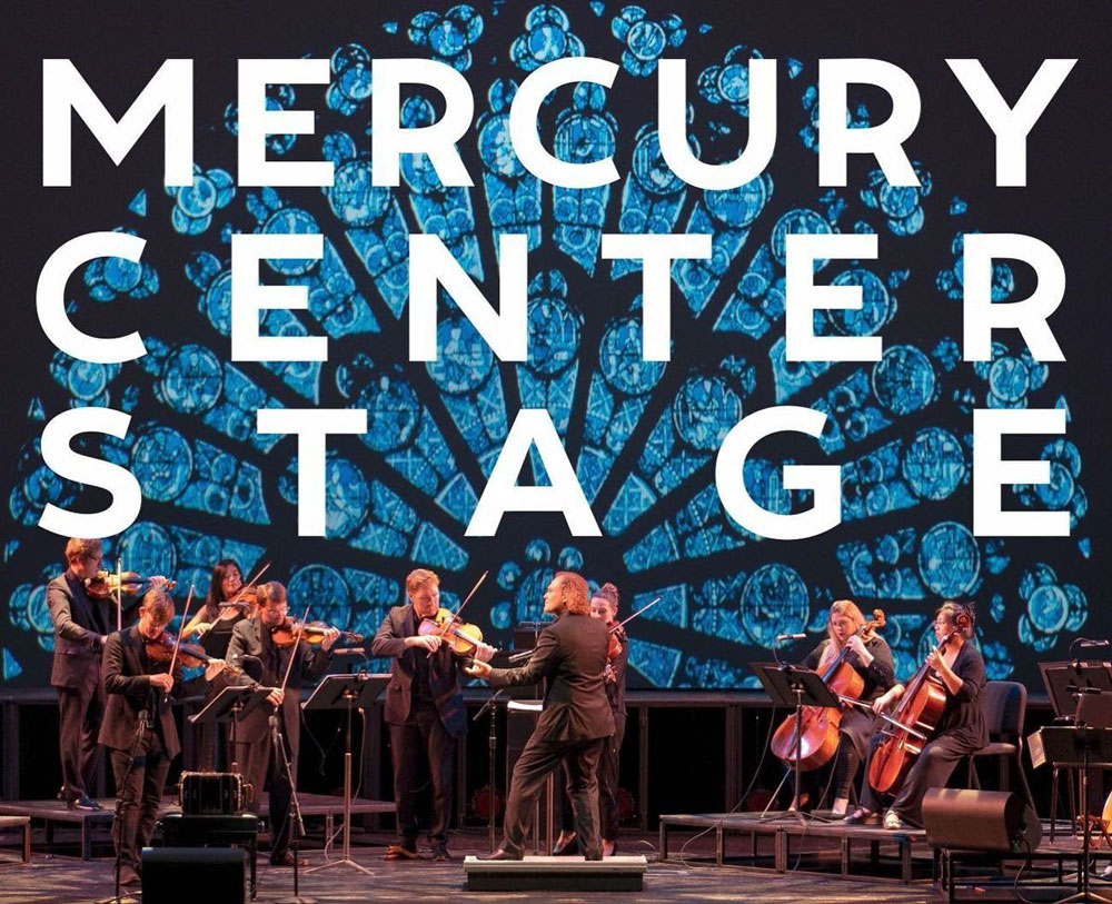 Brian Ritter performing with an orchestra with the words Mercury Center Stage overlaid on top