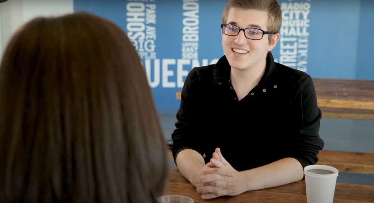 Student interviewing for a job