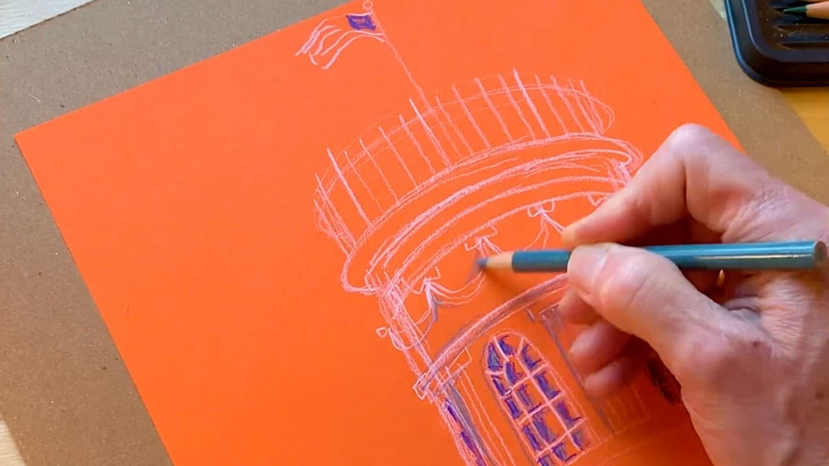 hand-drawn Cupola in white pencil on orange paper