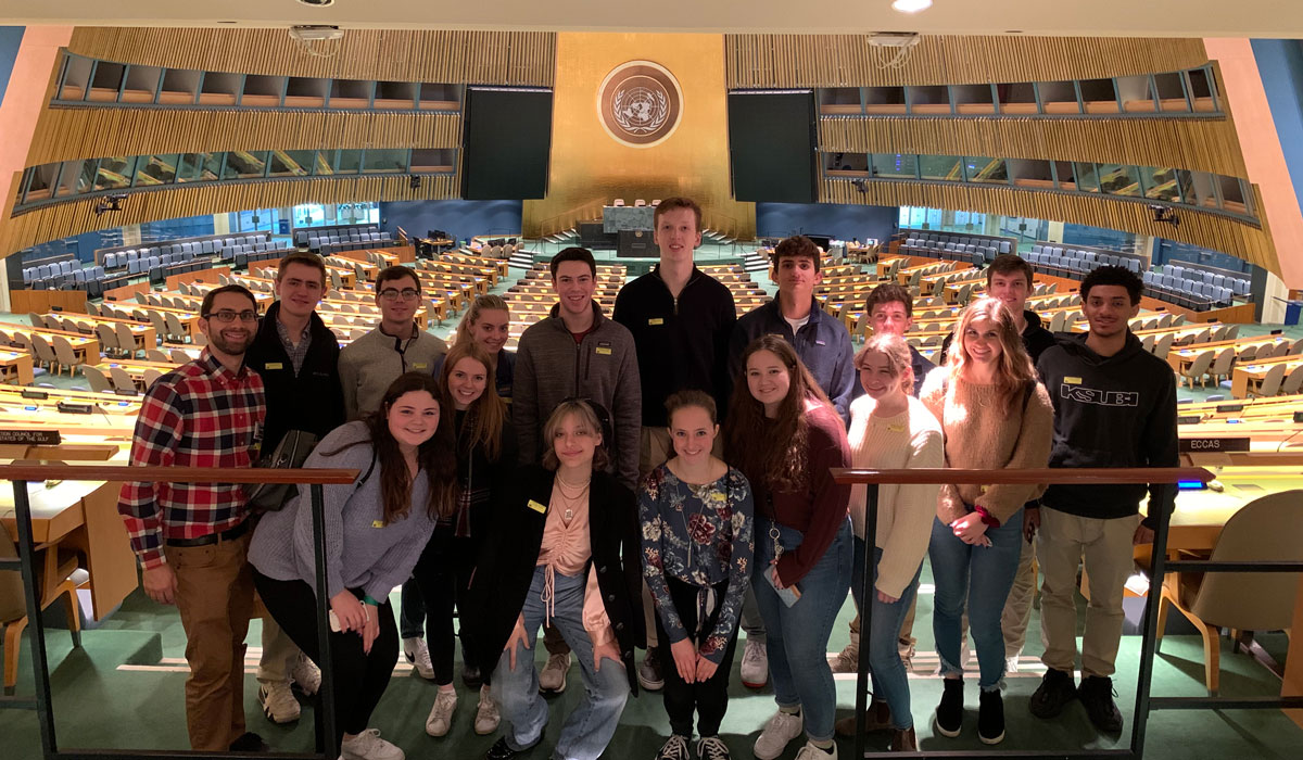 Daniel Willever and other students at the United Nations headquarters