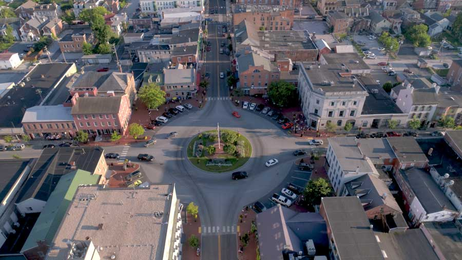 Aerial photograph of downtown Gettysburg PA