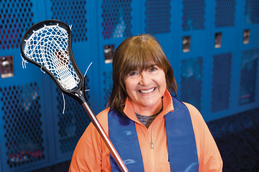 Head Women's Lacrosse Coach Carol daly Cantele '83, P'15 with heer stole of gratitude