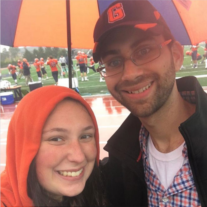 Melanie Greenberg with Daniel Willever on Gettysburg College's campus