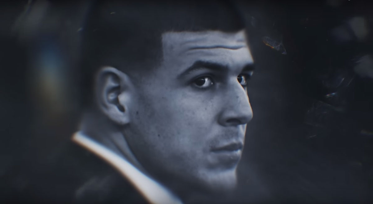 Headshot of Aaron Hernandez in black and white
