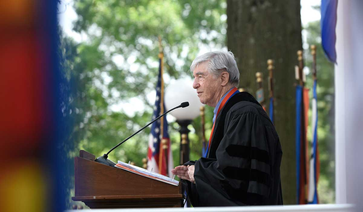 Jerry Spinelli speaking at a Gettysburg College commencement ceremony