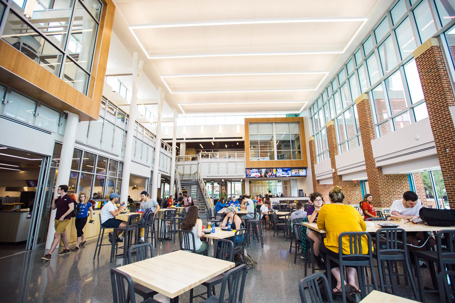 Students eating in the Janet Morgan Riggs Student Center