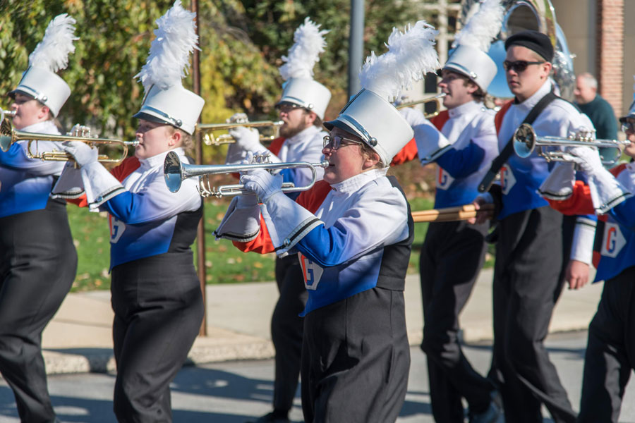 Melanie Greenberg performing in the Bullets Marching Band