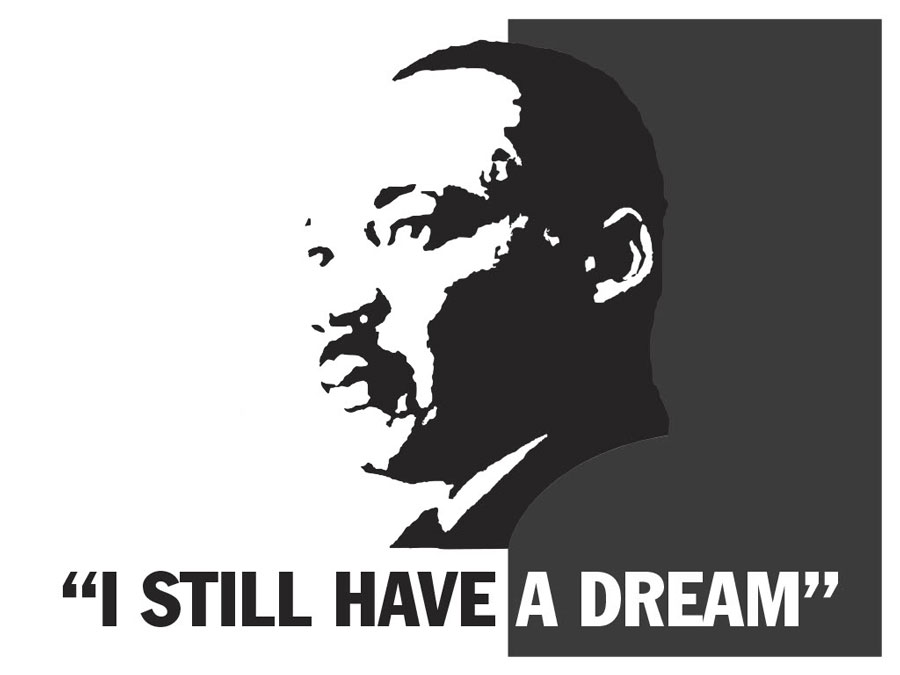 Sign with Martin Luther King's face and the quote I still have a dream