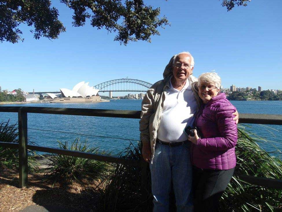 John and Lanie Nagle posing in front of the Sydney operah house in Australia