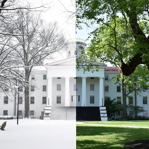 composite of Penn Hall in winter (left) and summer (right)