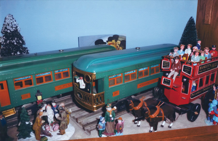 Toy christmas scene with toy trains