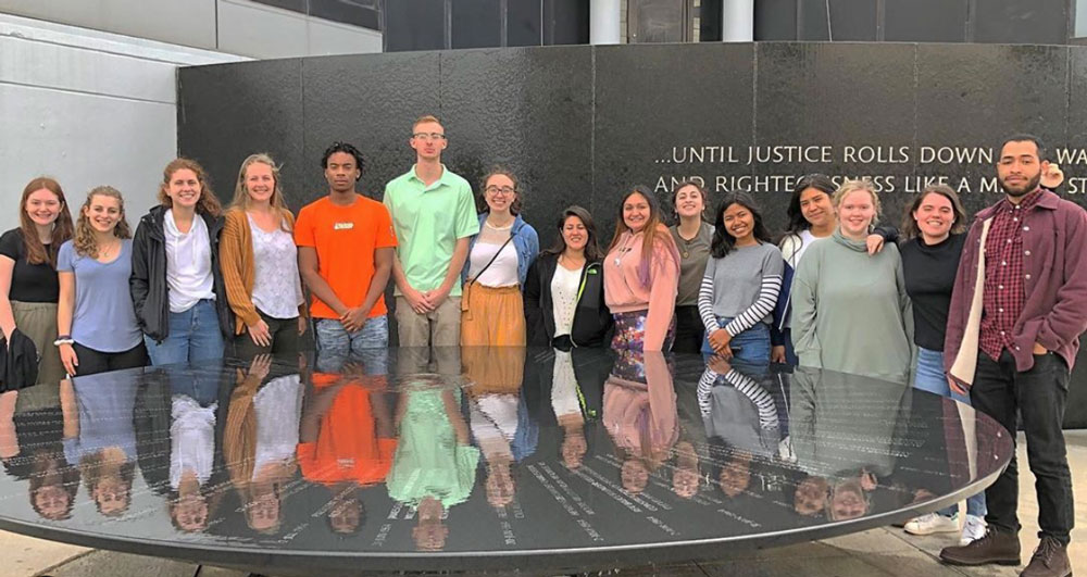 Vunn '22 and her Gettysburg College peers visit a civil rights museum during their trip to Alabama in 2019.