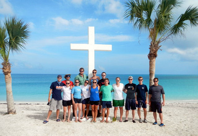 The group in front of the monument on San Salvador Island