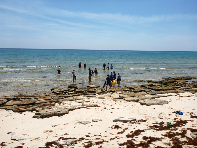 Students get ready to swim out to the first snorkel of the day
