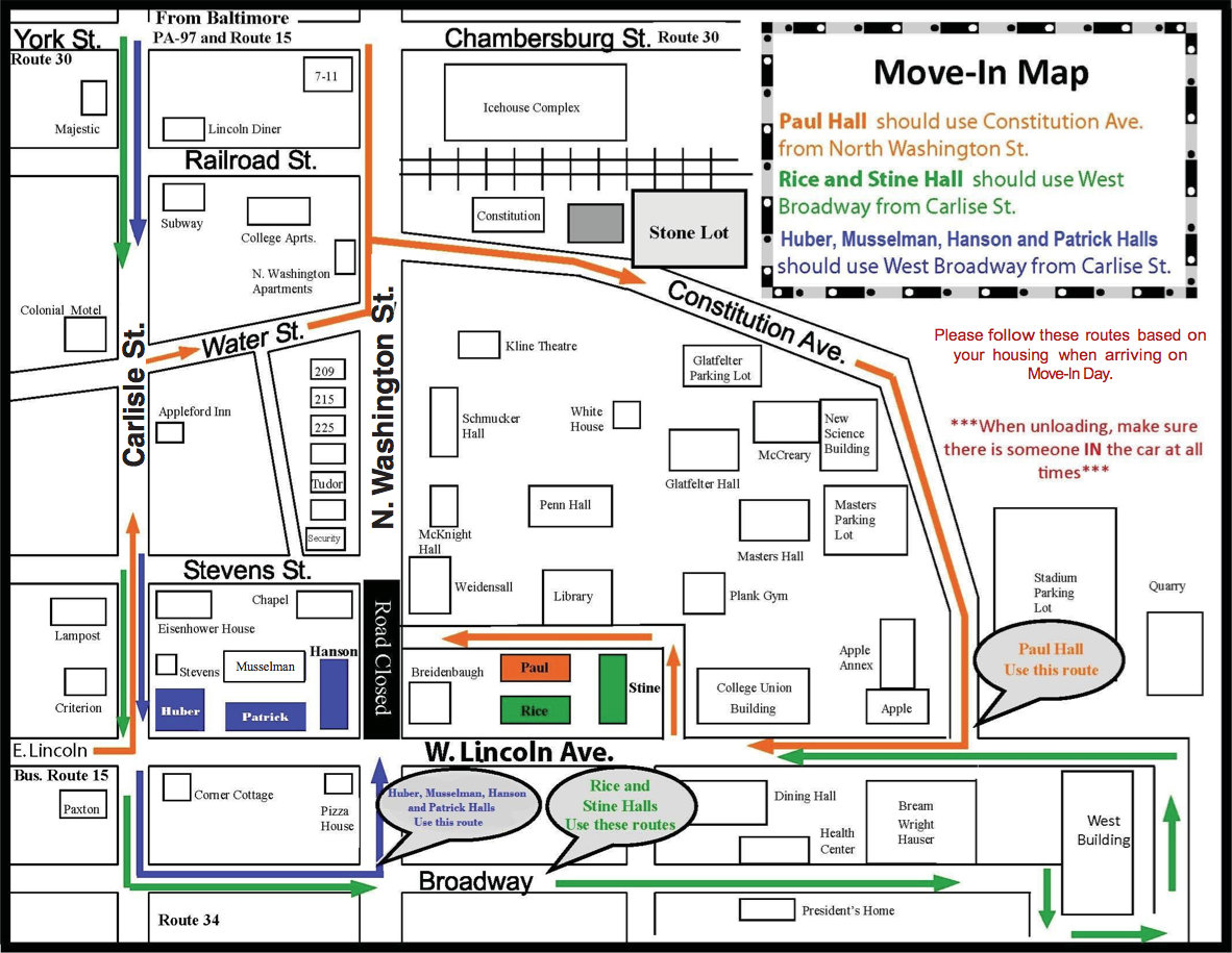 Move-In Day traffic pattern map.