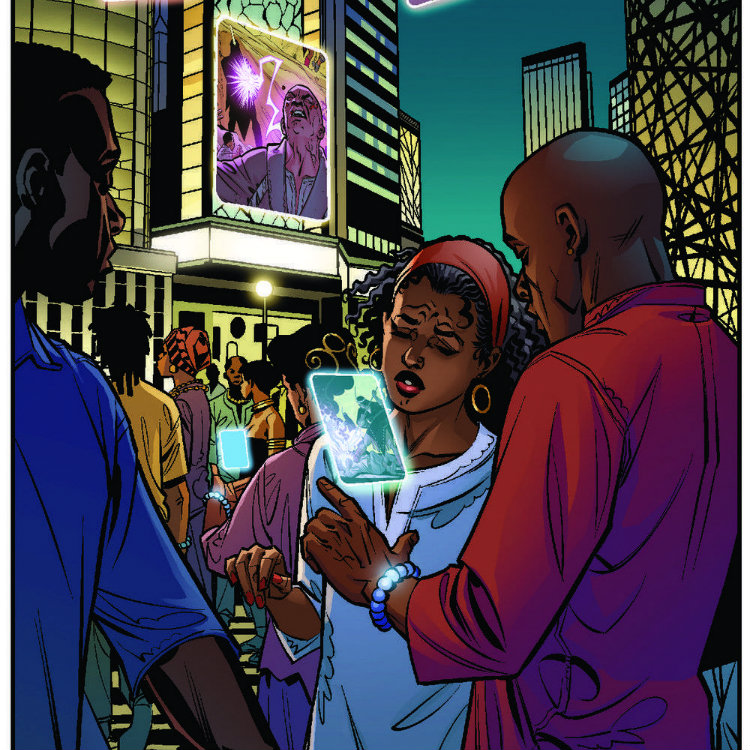 A scene from Marvel's Black Panther, depicting people using the kimoyo bead technology, the design of which was influenced by African culture.