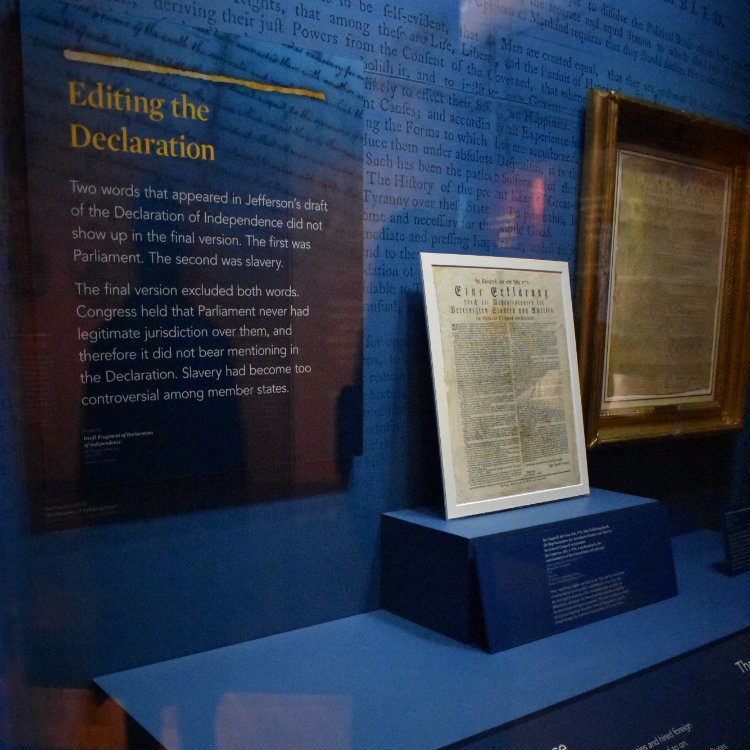 Pictured is exhibit featuring the College's German-language Declaration of Independence.