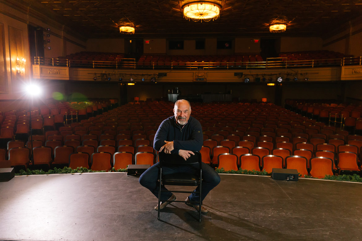 David LeVan '68 inside the Majestic Theater